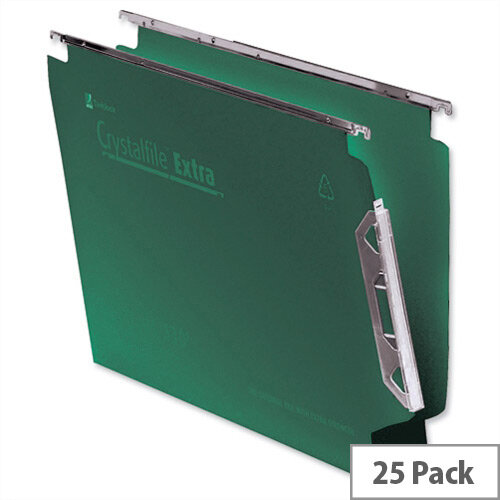 Rexel Crystalfile 330mm Lateral Suspension File 50mm Wide Base Green Pack 25