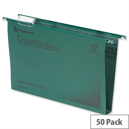 Rexel Crystalfile Classic Vertical Suspension File Green 50mm Foolscap Pack 50