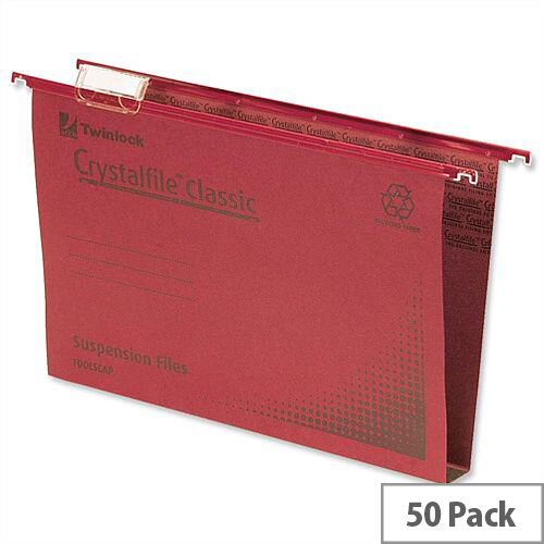 Rexel Crystalfile Classic Vertical Suspension File Red 50mm Foolscap Pack 50
