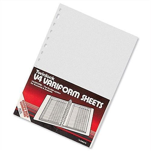 Twinlock V4 Variform 4 Column Cash Sheets Ref 75930 Pack 75 T75930