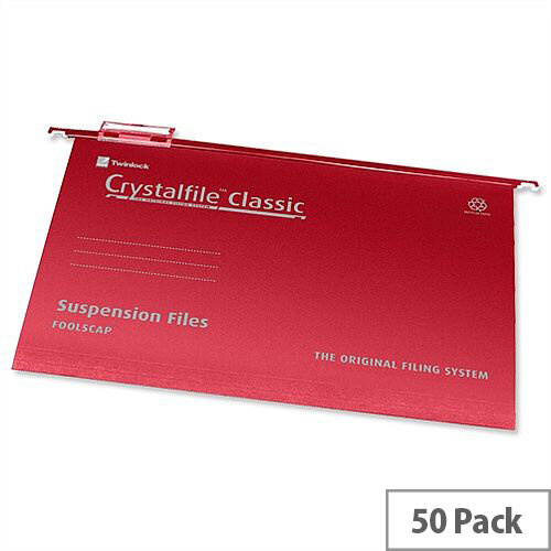 Rexel Crystalfile Foolscap Suspension File Red V-base 15mm Pack 50