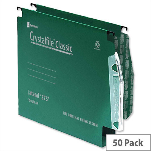 Rexel Crystalfile Lateral 275mm Suspension File 30mm Wide Base Green Pack 50