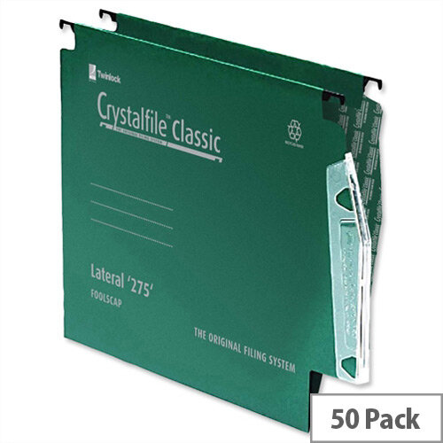 """Rexel Crystalfile 12"""" 275 mm Lateral Suspension File 15mm V Base Green Pack 50"""