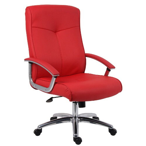 Hoxton Contemporary Style Leather Faced Executive Office Chair In Red