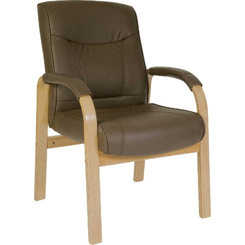 Richmond Visitor Brown Bonded Leather Faced Armchair With Light Oak Colour Wooden Arms And Legs