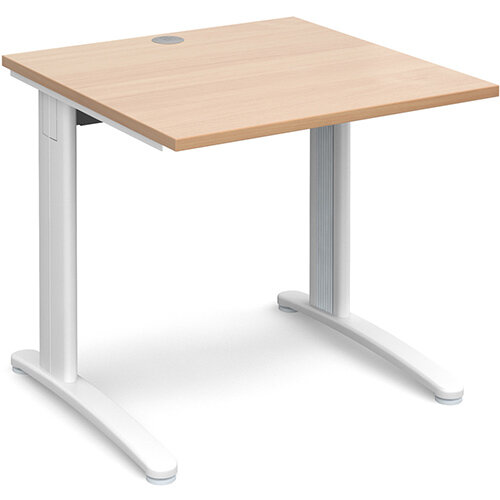 TR10 straight desk 800mm x 800mm - white frame, beech top