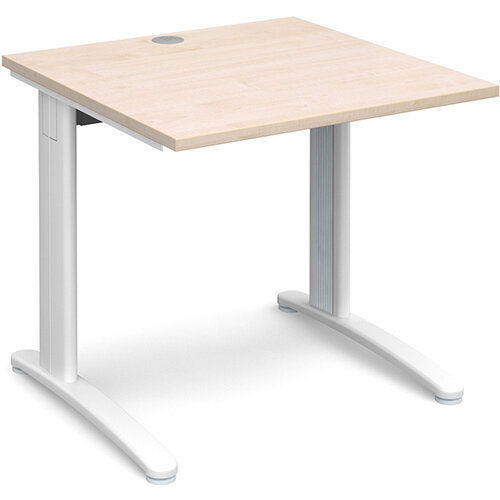 TR10 straight desk 800mm x 800mm - white frame, maple top