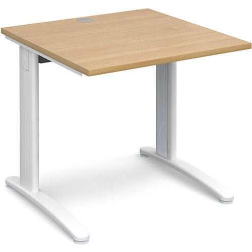TR10 straight desk 800mm x 800mm - white frame, oak top