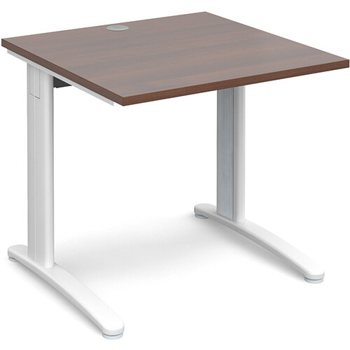 TR10 straight desk 800mm x 800mm - white frame, walnut top