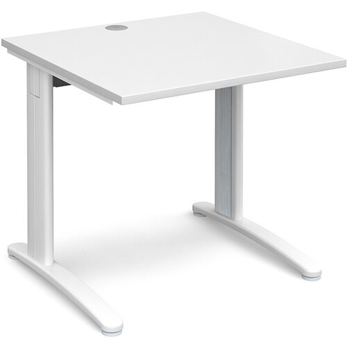 TR10 straight desk 800mm x 800mm - white frame, white top