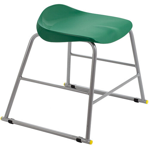 Titan High Backless Classroom Stool Size 3 445mm Seat Height (Ages: 6-8 Years) Polly Lipped Seat with Skid Base Green T90-GN - 5 Year Guarantee