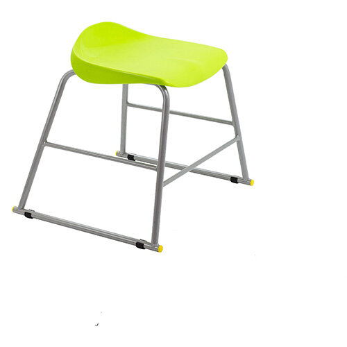 Titan High Backless Classroom Stool Size 3 445mm Seat Height (Ages: 6-8 Years) Polly Lipped Seat with Skid Base Lime T90-L - 5 Year Guarantee