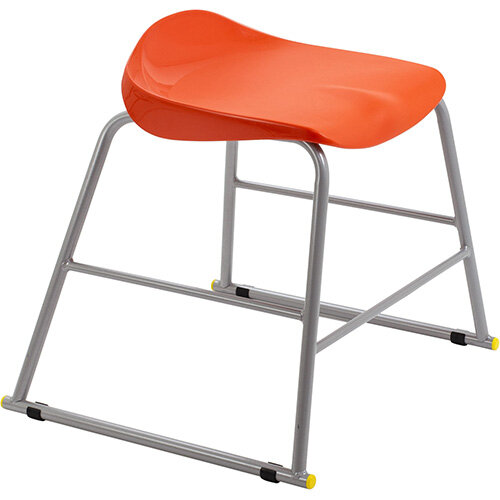 Titan High Backless Classroom Stool Size 3 445mm Seat Height (Ages: 6-8 Years) Polly Lipped Seat with Skid Base Orange T90-O - 5 Year Guarantee