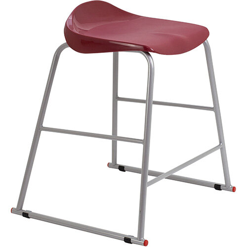 Titan High Backless Classroom Stool Size 4 560mm Seat Height (Ages: 8-11 Years) Polly Lipped Seat with Skid Base Burgundy T91-BU - 5 Year Guarantee