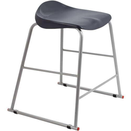 Titan High Backless Classroom Stool Size 4 560mm Seat Height (Ages: 8-11 Years) Polly Lipped Seat with Skid Base Charcoal T91-C - 5 Year Guarantee