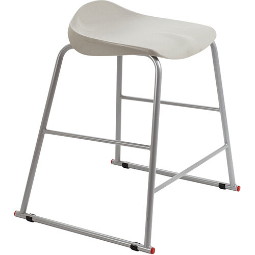 Titan High Backless Classroom Stool Size 4 560mm Seat Height (Ages: 8-11 Years) Polly Lipped Seat with Skid Base Grey T91-GR - 5 Year Guarantee