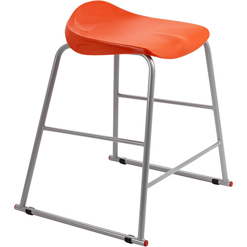 Titan High Backless Classroom Stool Size 4 560mm Seat Height (Ages: 8-11 Years) Polly Lipped Seat with Skid Base Orange T91-O - 5 Year Guarantee