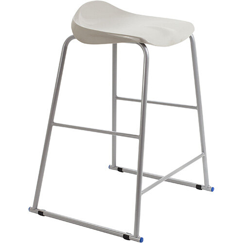 Titan High Backless Classroom Stool Size 6 685mm Seat Height (Ages: 14+ Years) Polly Lipped Seat with Skid Base Grey T93-GR - 5 Year Guarantee