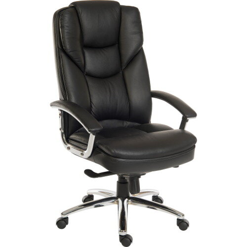Skyline Luxury Italian Leather Faced Chair In Black