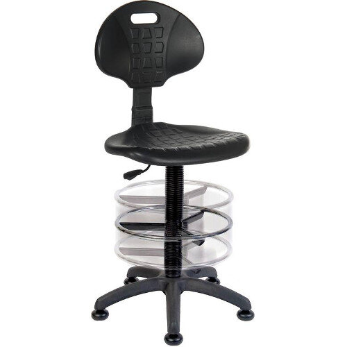 Labour Polyurethane Draughtsman Chair With Deluxe Adjustable Draughting Kit In Black