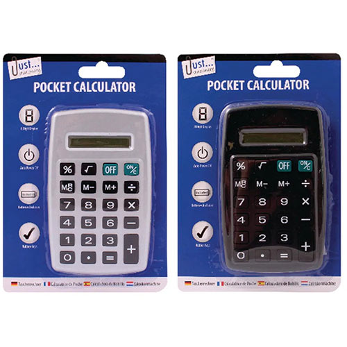 Tallon Black/Silver 8-Digit Pocket Calculator Pack of 12 6178