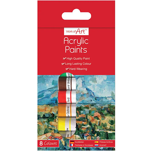 Work of Art Hard-Wearing Acrylic Paint Tubes Assorted Pack of 12 TAL06742