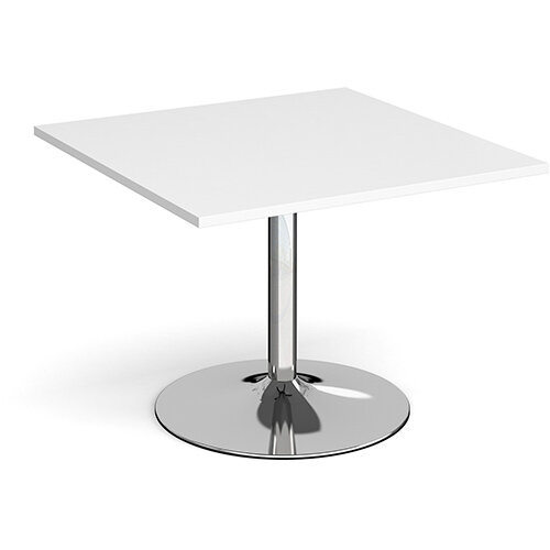 Trumpet Base Square Boardroom Table Extension 1000mm x 1000mm - Chrome Base &White Top