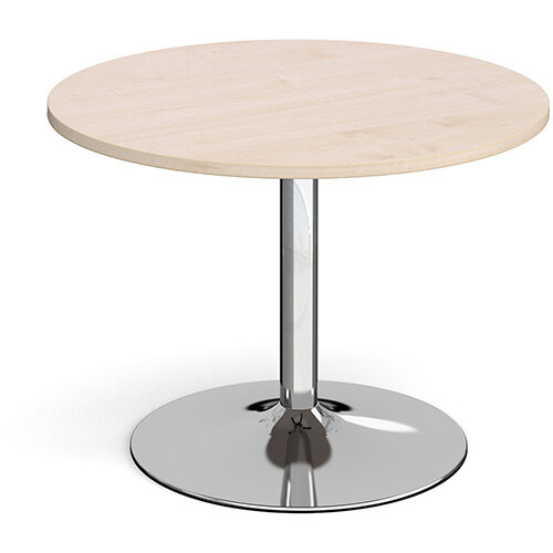 Trumpet Base Circular Boardroom Table 1000mm - Chrome Base &Maple Top