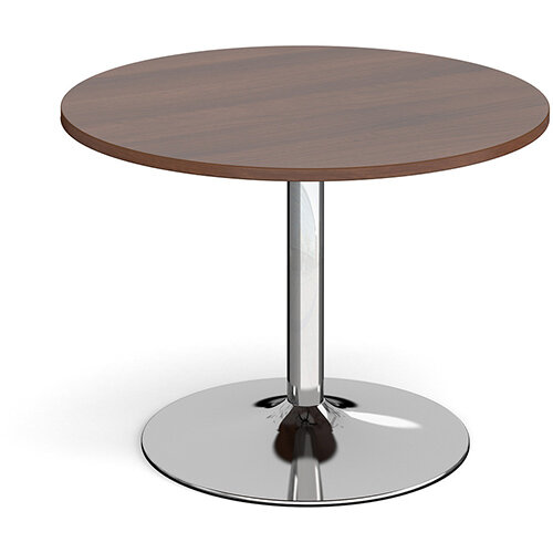 Trumpet Base Circular Boardroom Table 1000mm - Chrome Base &Walnut Top