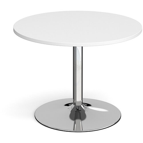 Trumpet Base Circular Boardroom Table 1000mm - Chrome Base &White Top