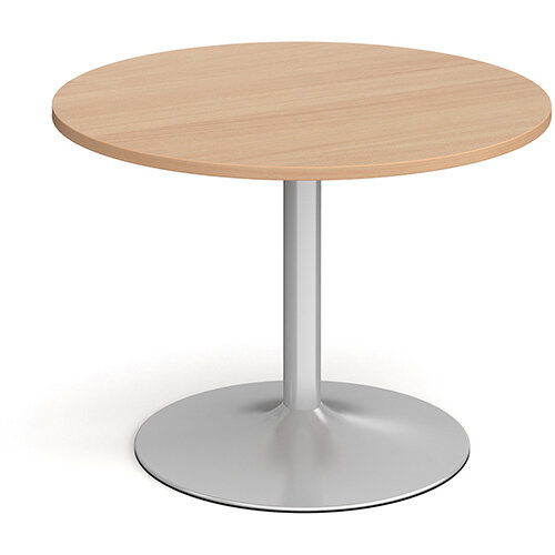 Trumpet Base Circular Boardroom Table 1000mm - Silver Base &Beech Top