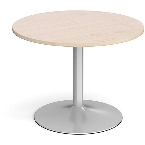 Trumpet Base Circular Boardroom Table 1000mm - Silver Base &Maple Top