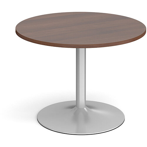 Trumpet Base Circular Boardroom Table 1000mm - Silver Base &Walnut Top