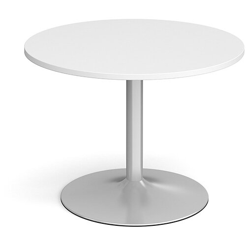 Trumpet Base Circular Boardroom Table 1000mm - Silver Base &White Top