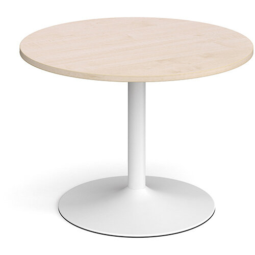 Trumpet Base Circular Boardroom Table 1000mm - White Base &Maple Top