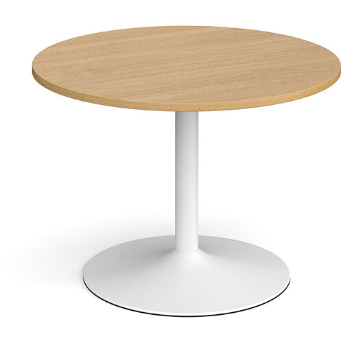 Trumpet Base Circular Boardroom Table 1000mm - White Base &Oak Top