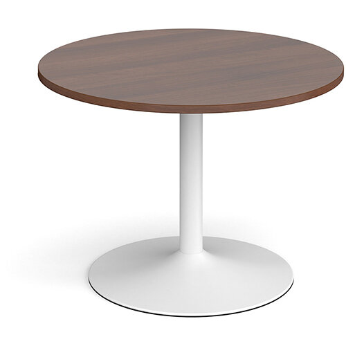 Trumpet Base Circular Boardroom Table 1000mm - White Base &Walnut Top