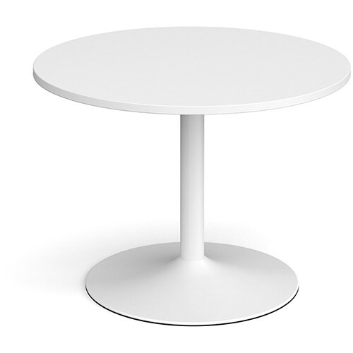 Trumpet Base Circular Boardroom Table 1000mm - White Base &White Top