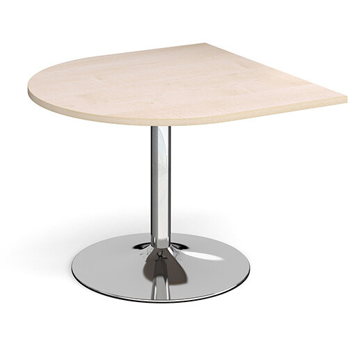 Trumpet Base Radial D-End Boardroom Table Extension 1000mm x 1000mm - Chrome Base &Maple Top