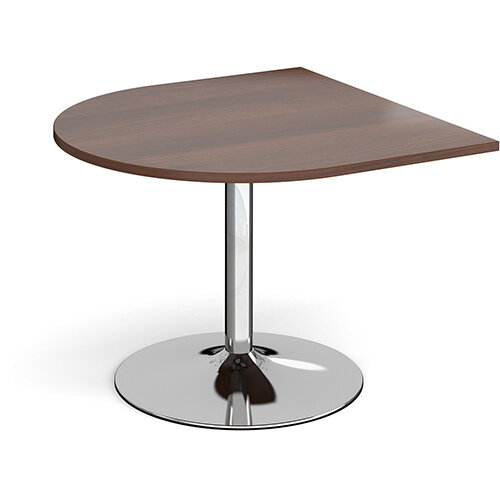 Trumpet Base Radial D-End Boardroom Table Extension 1000mm x 1000mm - Chrome Base &Walnut Top