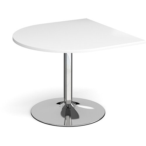 Trumpet Base Radial D-End Boardroom Table Extension 1000mm x 1000mm - Chrome Base &White Top