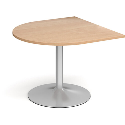 Trumpet Base Radial D-End Boardroom Table Extension 1000mm x 1000mm - Silver Base &Beech Top