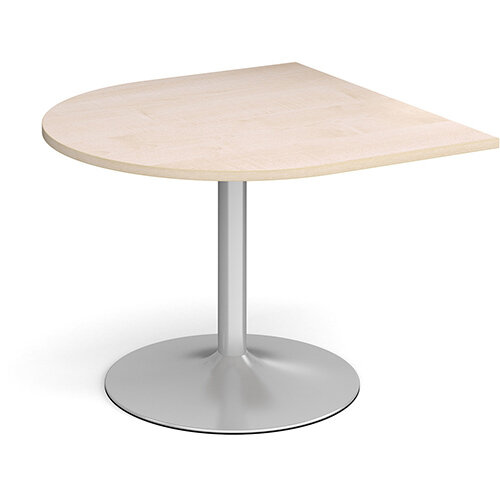Trumpet Base Radial D-End Boardroom Table Extension 1000mm x 1000mm - Silver Base &Maple Top