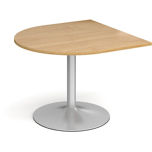 Trumpet Base Radial D-End Boardroom Table Extension 1000mm x 1000mm - Silver Base &Oak Top