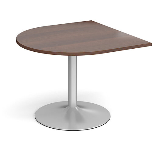Trumpet Base Radial D-End Boardroom Table Extension 1000mm x 1000mm - Silver Base &Walnut Top