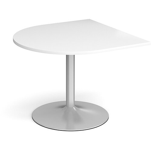 Trumpet Base Radial D-End Boardroom Table Extension 1000mm x 1000mm - Silver Base &White Top