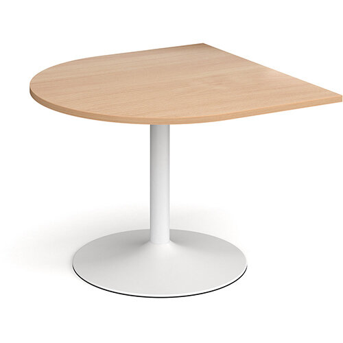 Trumpet Base Radial D-End Boardroom Table Extension 1000mm x 1000mm - White Base &Beech Top