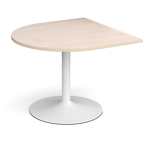 Trumpet Base Radial D-End Boardroom Table Extension 1000mm x 1000mm - White Base &Maple Top