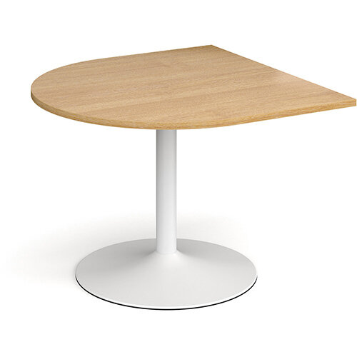 Trumpet Base Radial D-End Boardroom Table Extension 1000mm x 1000mm - White Base &Oak Top