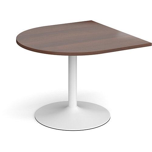 Trumpet Base Radial D-End Boardroom Table Extension 1000mm x 1000mm - White Base &Walnut Top